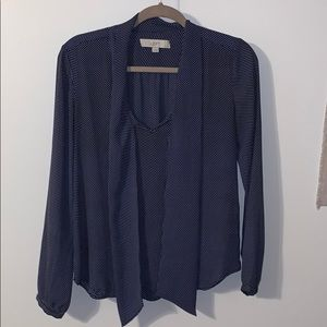 Navy dotted tie-neck blouse sz XS